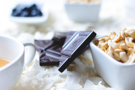 Tea cup  nuts and chocolate bar