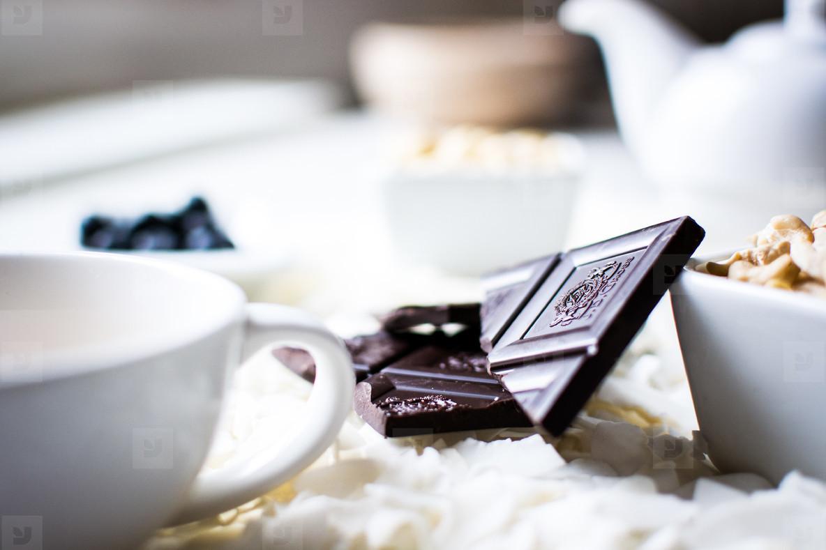 Tea time with chocolate bar