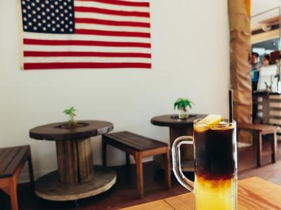 Iced black coffee mix with lemon
