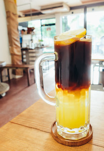 Iced black coffee mix with lemon