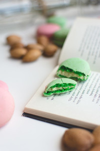 Macarons on open book