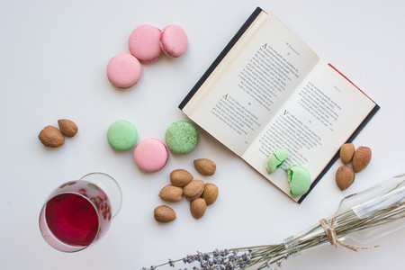 Macarons almonds juice book