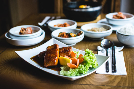 Salmon steak and korean foods