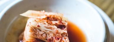 Closeup Kimchi on wooden table