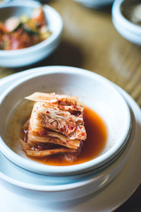 Closeup Kimchi on wooden table