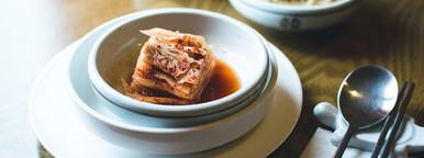 Kimchi on wooden table