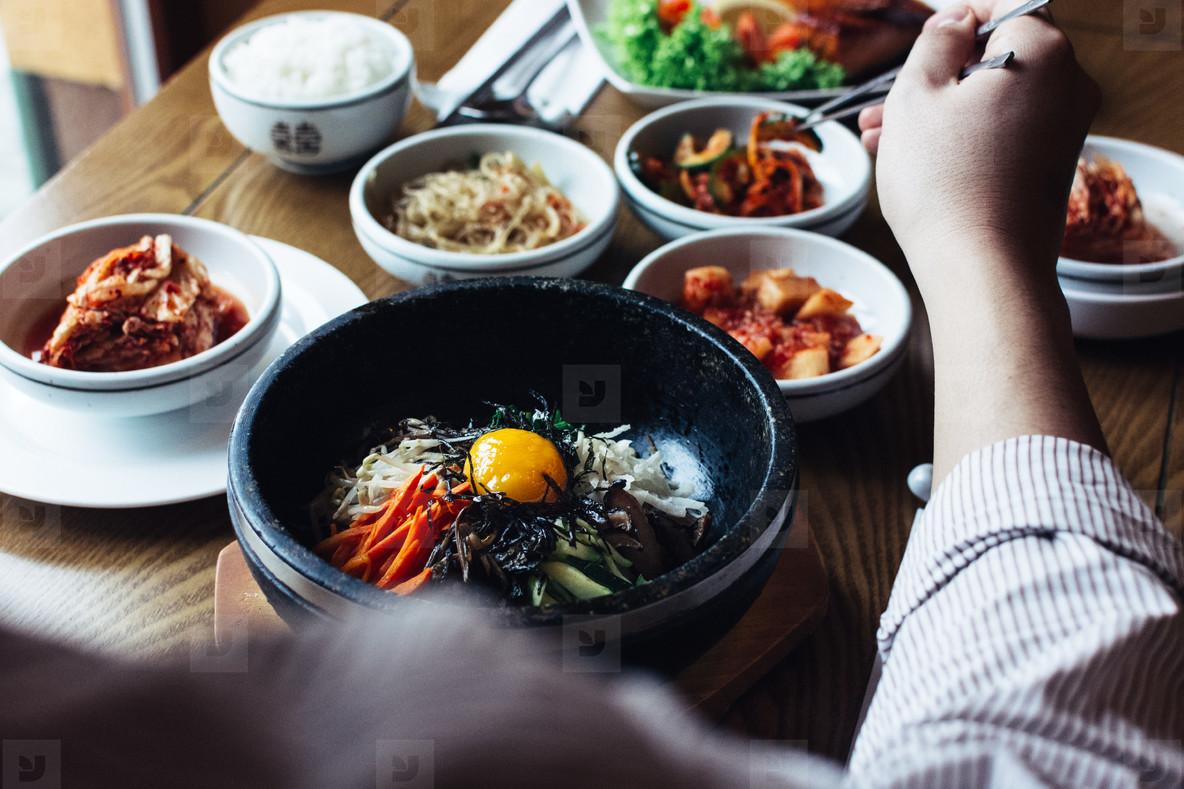 Eating Korean Food