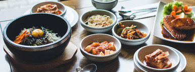Korean Food on wooden table