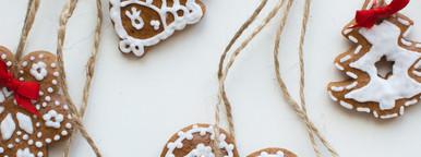 Gingerbread cookies haging over
