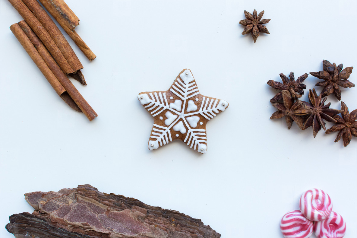 Gingerbread snowflake cookie