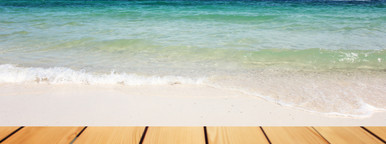 wooden table over sea background