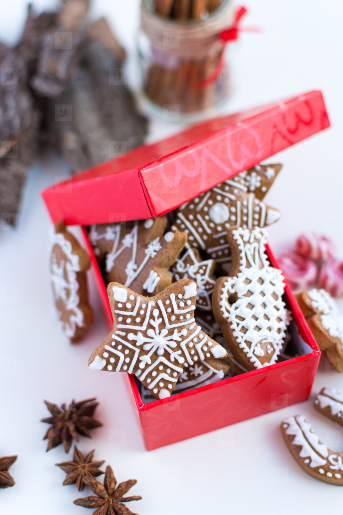 Gingerbread cookies in gift box