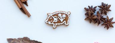 Gingerbread pig cookie