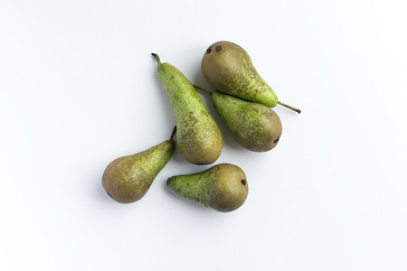 Green Pears on white background