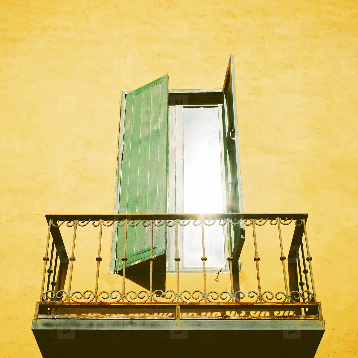 Vintage metal terrace and window
