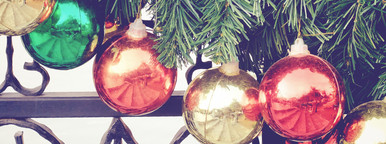 Christmas balls hanging on tree