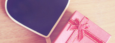 Red gift box and heart shaped