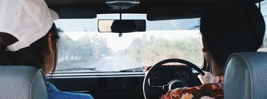 Lovely couple doing a car trip