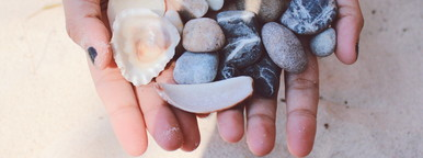 Stones and shells in hands