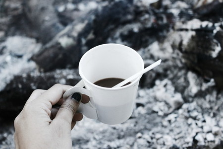 Camping with coffee cup