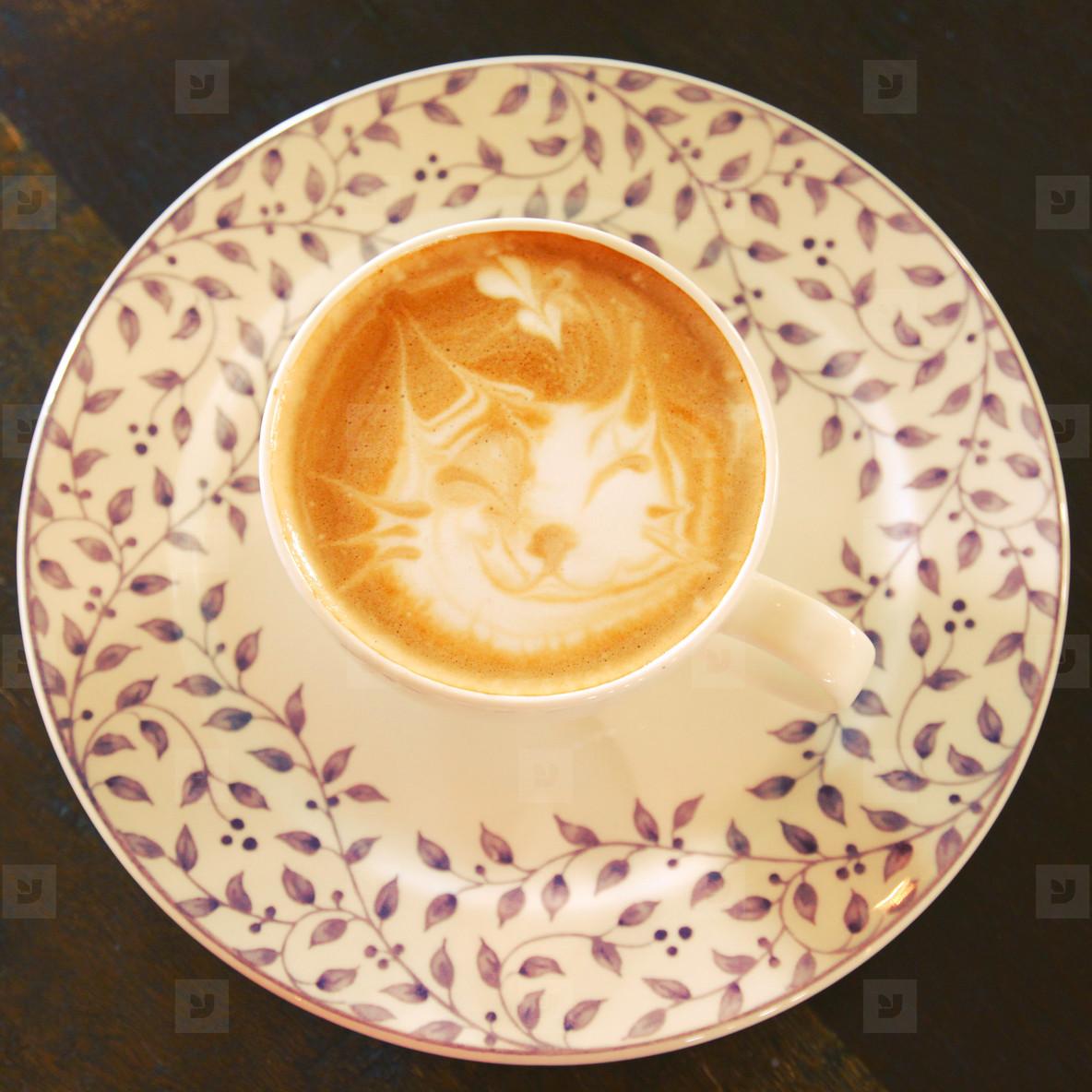 Cute latte art coffee