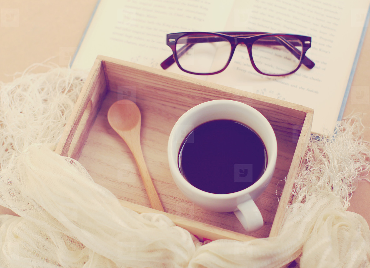 Eyeglasses and black coffee