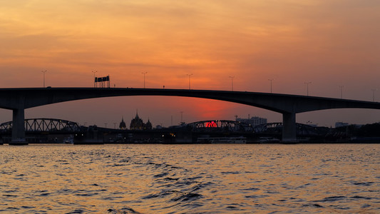 Bangkok Bridge  River Sunset