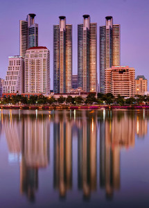 Reflections of 4 Towers on Lake