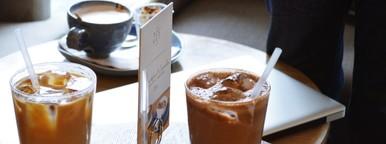 Iced Coffee on wood table