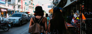 Young girls walking in town