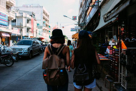 Young girls walking in town