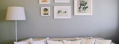 couch and vintage frame