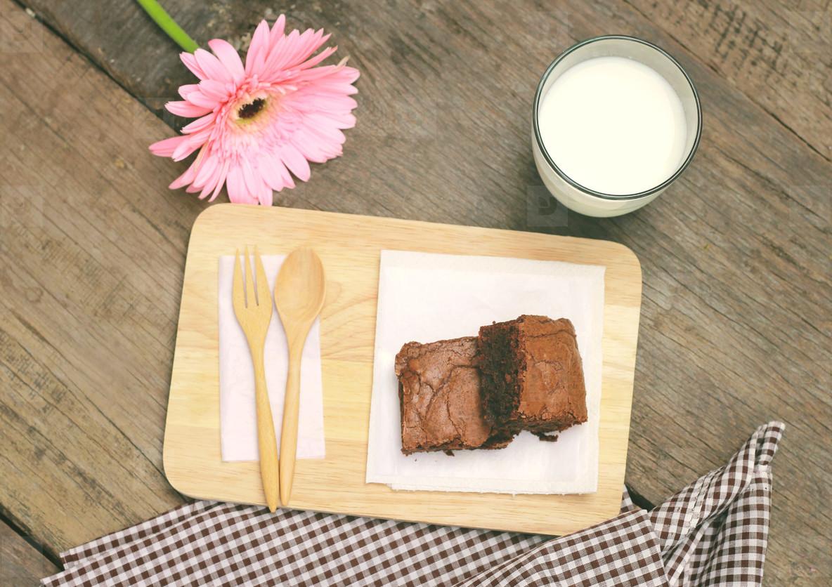 Tasty brownies with milk