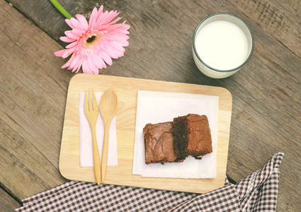 Tasty brownies with milk