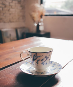 coffee in vintage porcelain cup