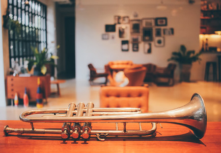 Old trumpet in living room
