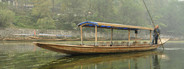 Unoccupied river tour boat