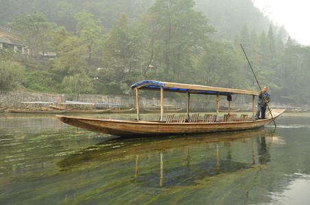 Unoccupied river tour boat