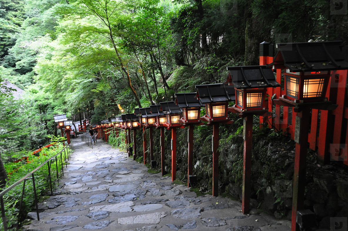Stairs and lanterns at Kibune