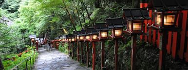 Stairs and lanterns at Kibune