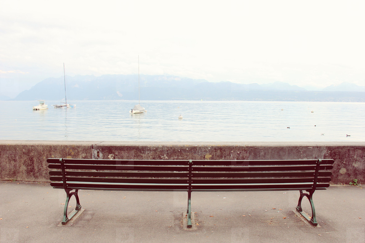 Empty bench looking at the lake