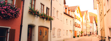 Street way of old buildings