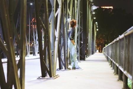 Young girl on the bridge