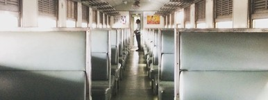 Empty antiqued train cabin