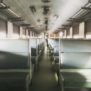 Empty antiqued train cabin