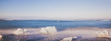 Ice on the black sand beach