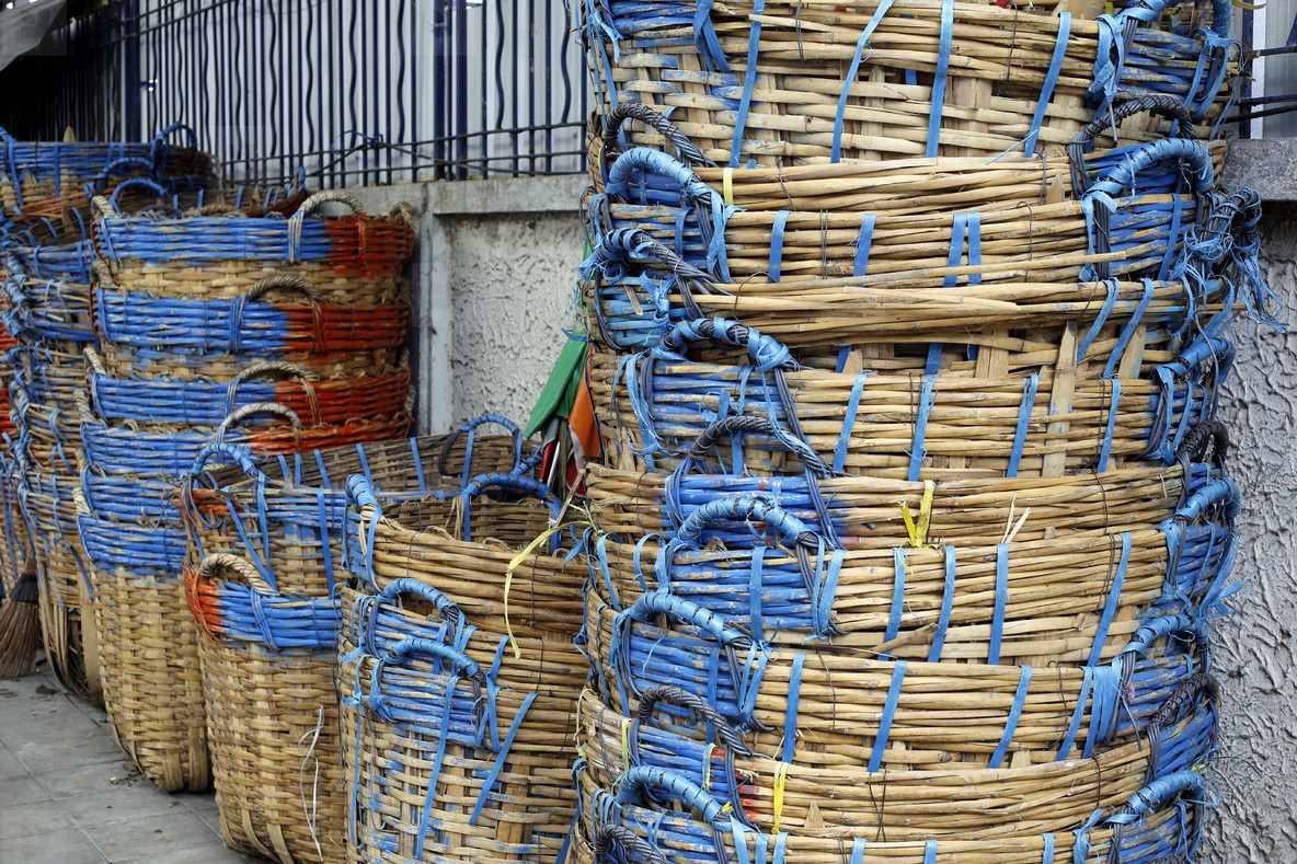Stacked Bamboo Baskets
