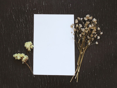 Blank greeting card with flower