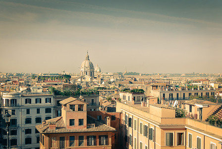 Vintage view over rome   italy