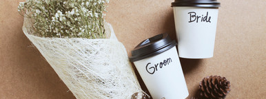Groom and bride written on cup